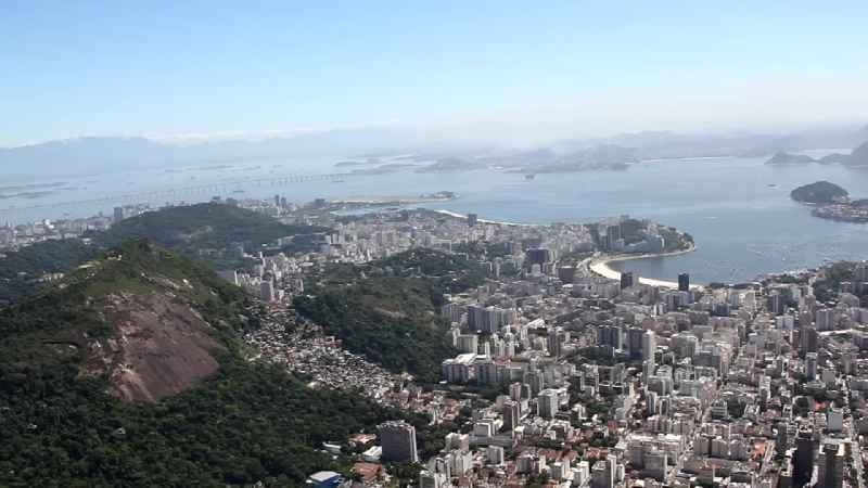 City view on sea coastline of the South Atlantic in the district Botafogo in Rio de Janeiro in Brazil