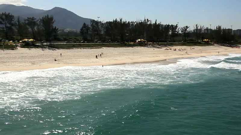 Beach landscape along the of the South Atlantic in the district Sao Conrado in Rio de Janeiro in Brazil