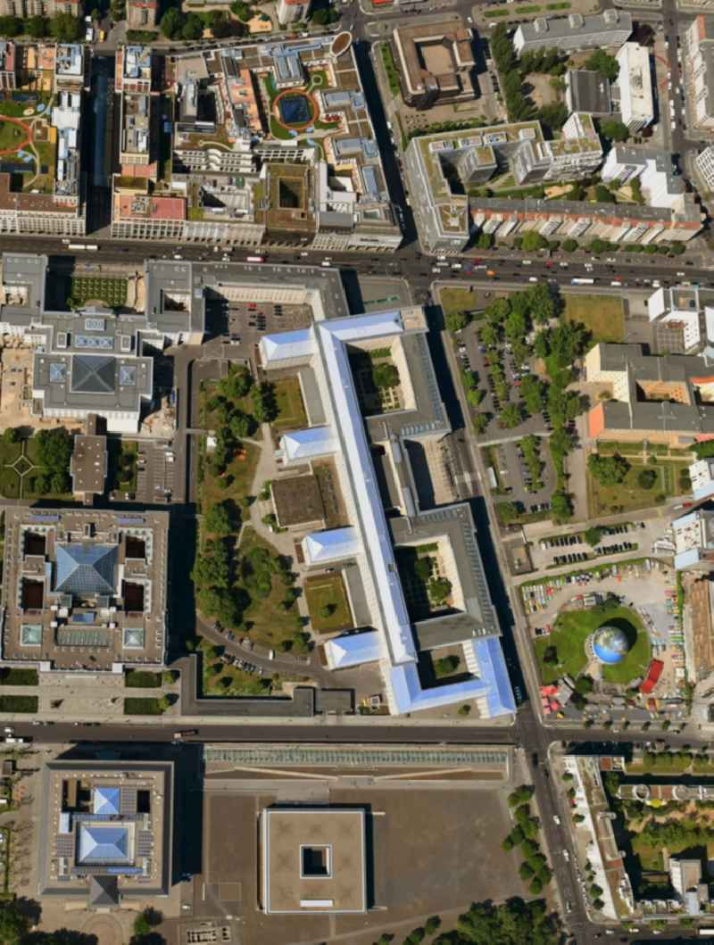 Vertical aerial view from the satellite perspective of the federal Ministry of Finance, former Reich Air Transport Ministry / Ministry of Aviation and after the House of Ministeries of the GDR, in the Detlev-Rohwedder Building
