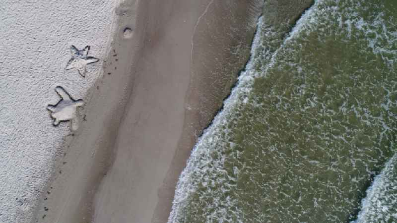 Vertical aerial view from the satellite perspective of the beach landscape along the of Baltic Sea in Binz in the state Mecklenburg - Western Pomerania, Germany