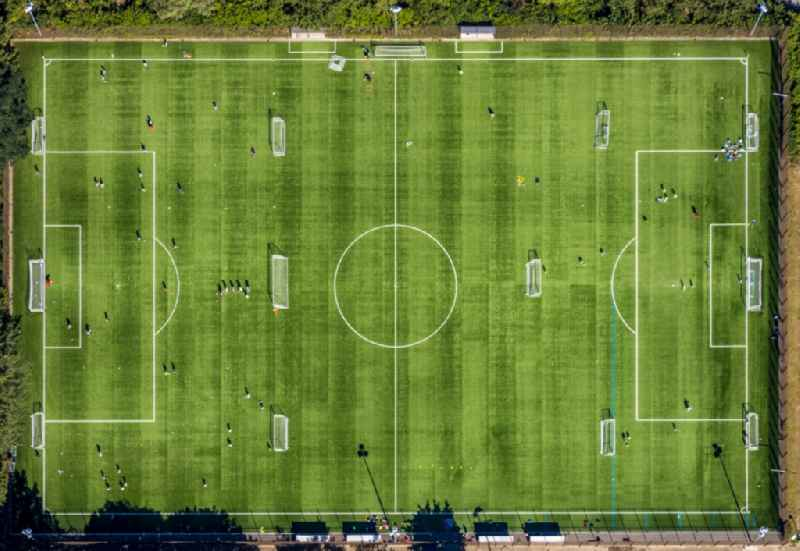 Vertical aerial view from the satellite perspective of the ensemble of sports grounds of the artificial turf pitch at the Ruhrstadion in the district Grumme in Bochum in the state North Rhine-Westphalia, Germany