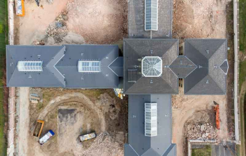 Vertical aerial view from the satellite perspective of the former correctional prison facility ond demolition work in the district Kassberg in Chemnitz in the state Saxony, Germany