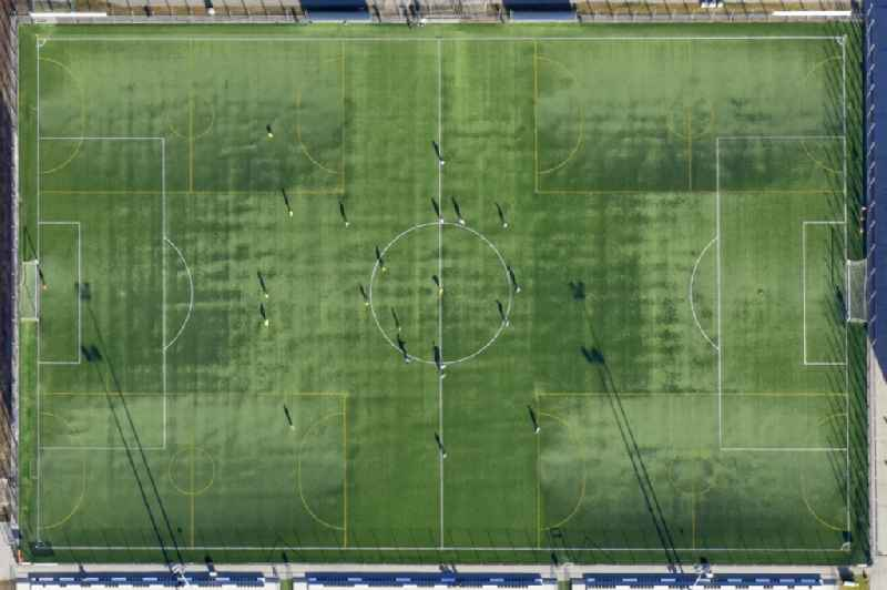 Vertical aerial view from the satellite perspective of the sports grounds and football pitch ' DEAC University Sports Center ' in Debrecen in Hajdu-Bihar, Hungary