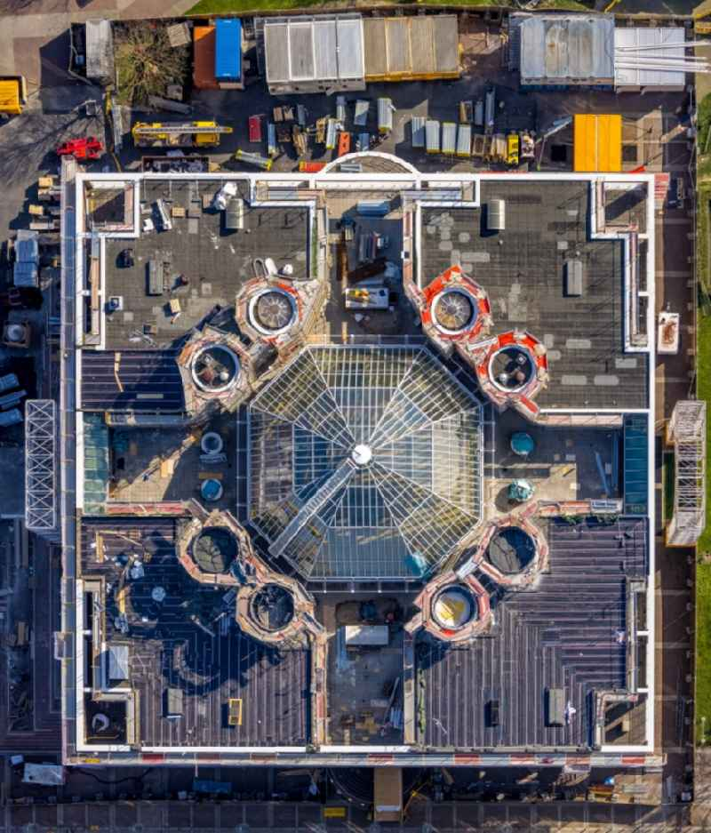 Vertical aerial view from the satellite perspective of the town Hall building of the City Council at the market downtown in Dortmund at Ruhrgebiet in the state North Rhine-Westphalia, Germany