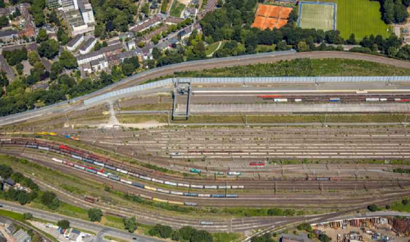 Vertical aerial view from the satellite perspective of the marshalling yard and freight station of the Deutsche Bahn in the district Mittelmeiderich in Duisburg in the state North Rhine-Westphalia, Germany