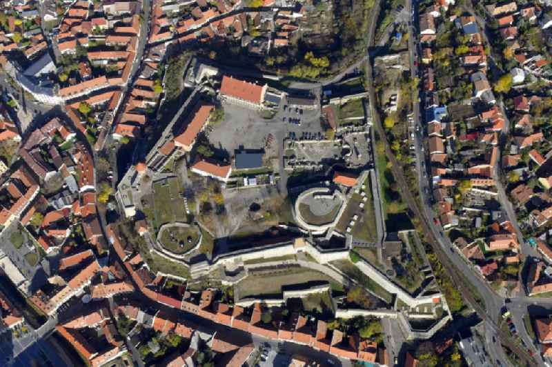Vertical aerial view from the satellite perspective of the castle of the fortress Egri Var in Eger in Komitat Heves, Hungary