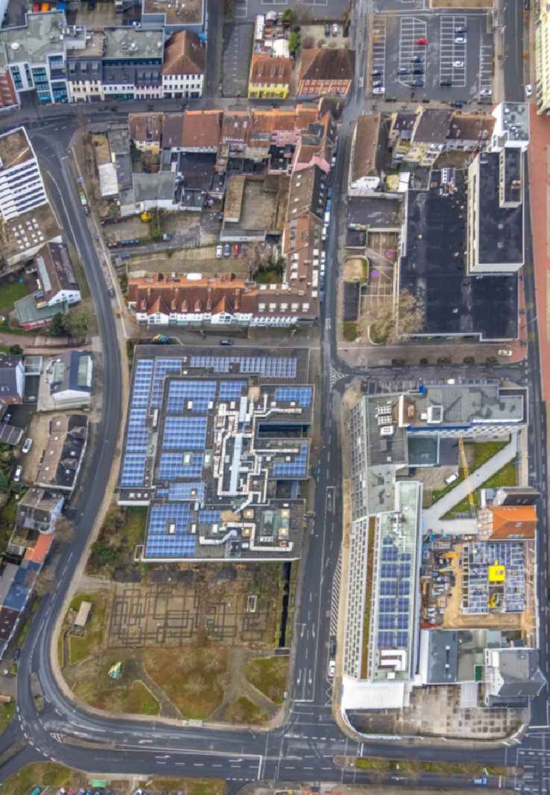 Vertical aerial view from the satellite perspective of the building of the cinema - movie theater CinemaxX on place Chattanoogaplatz in Hamm in the state North Rhine-Westphalia, Germany