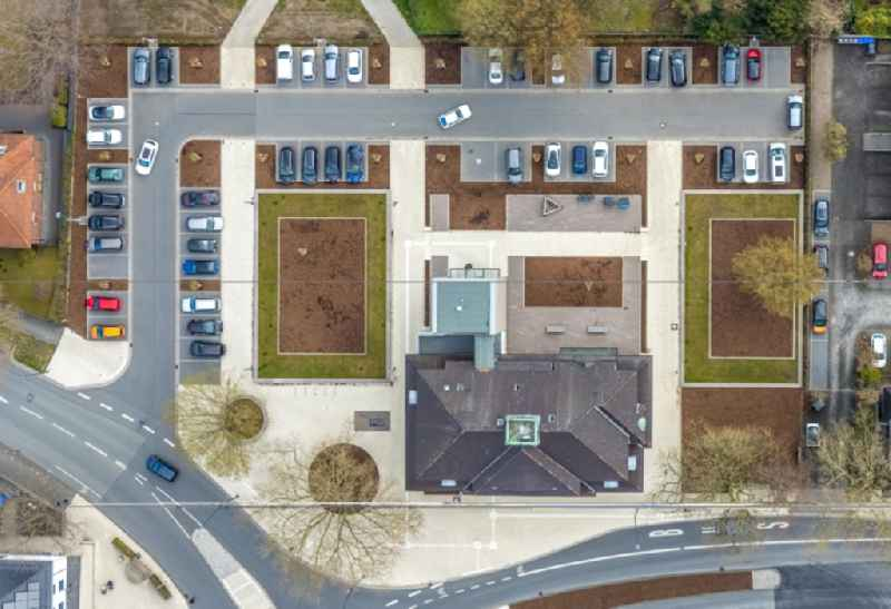 Vertical aerial view from the satellite perspective of the building of the city administration - City Hall 'Stadt Hamm, Rathaus Heessen' on Bockelweg in Hamm in the federal state of North Rhine-Westphalia, Germany