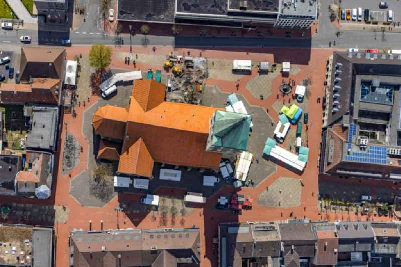 Vertical aerial view from the satellite perspective of the church building ' Pauluskirche ' on Marktplatz in Hamm in the state North Rhine-Westphalia, Germany