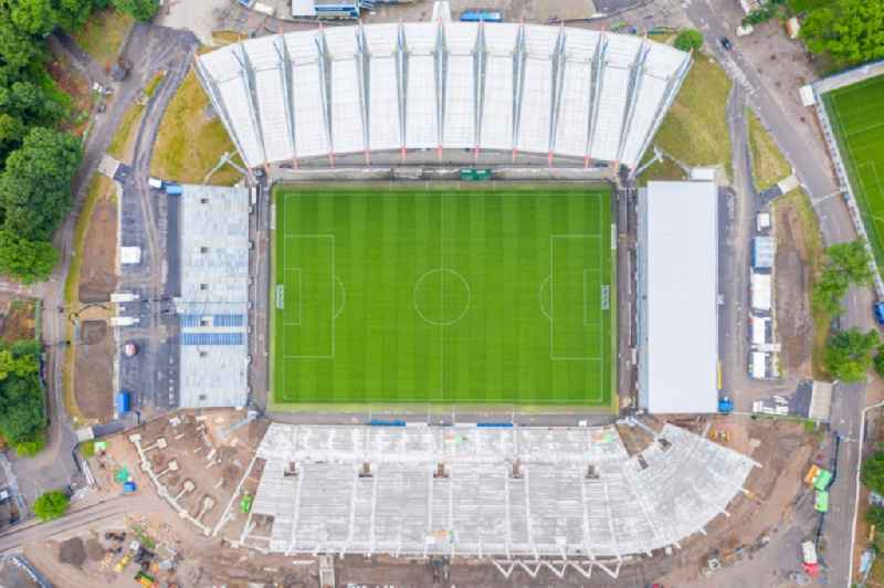 Vertical aerial view from the satellite perspective of the extension and conversion site on the sports ground of the stadium ' Wildparkstadion ' in Karlsruhe in the state Baden-Wurttemberg, Germany