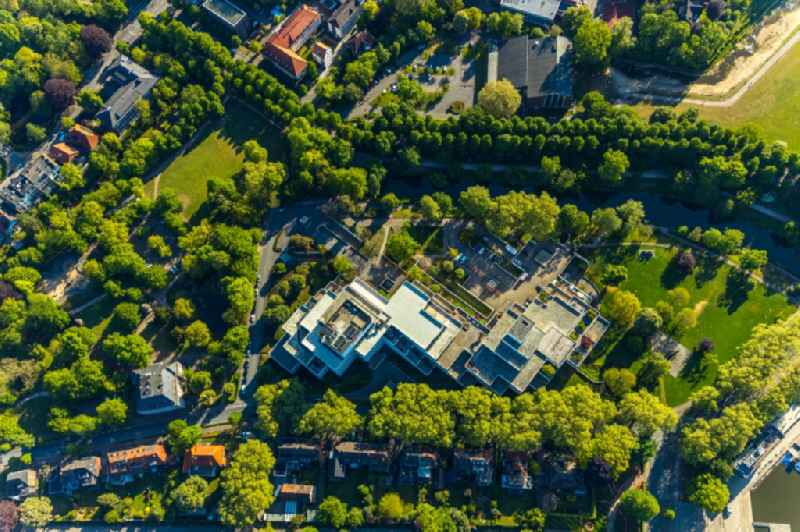 Vertical aerial view from the satellite perspective of the banking administration building of the financial services company LBS Westdeutsche Landesbausparkasse on Himmelreichallee in Muenster in the state North Rhine-Westphalia, Germany