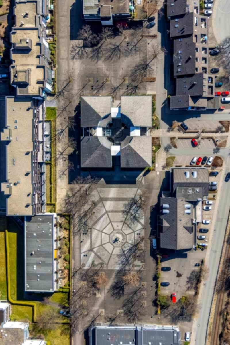 Vertical aerial view from the satellite perspective of the town Hall building of the city administration on Bigger Platz in Olsberg at Sauerland in the state North Rhine-Westphalia, Germany