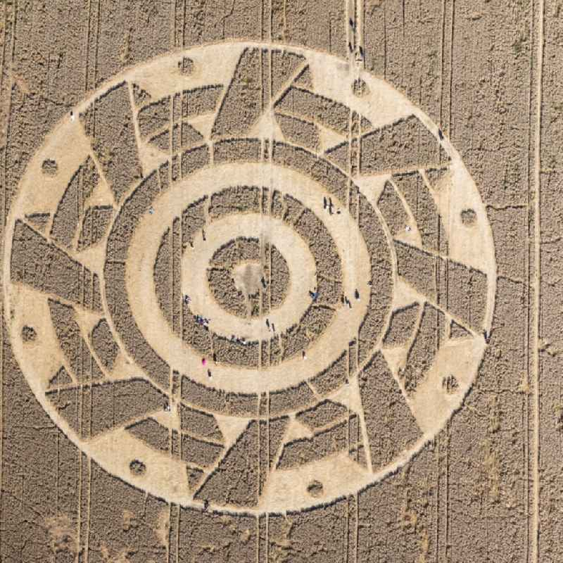 Vertical aerial view from the satellite perspective of the grain field structures of a grain circle in Paehl in the state Bavaria, Germany