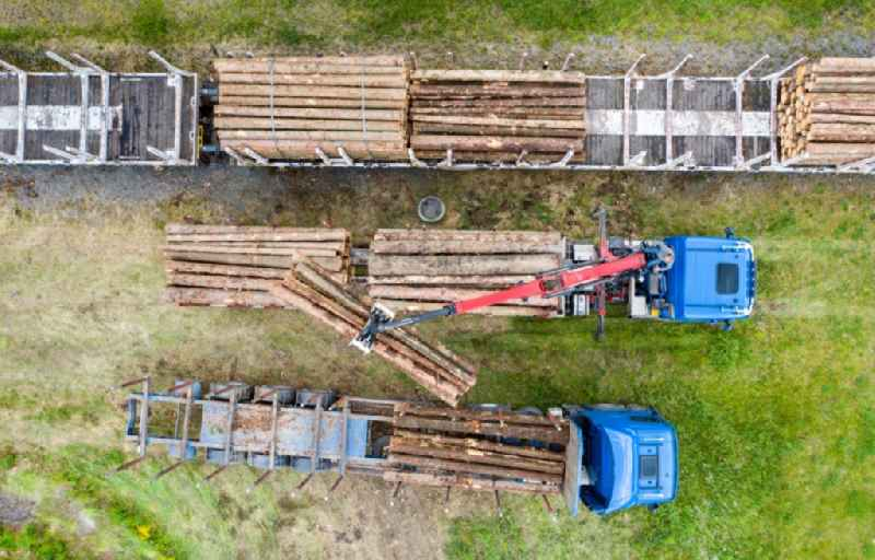 Vertical aerial view from the satellite perspective of the loading of wagons with tree trunks of a train in freight traffic on the track in Pockau-Lengefeld in the state Saxony, Germany