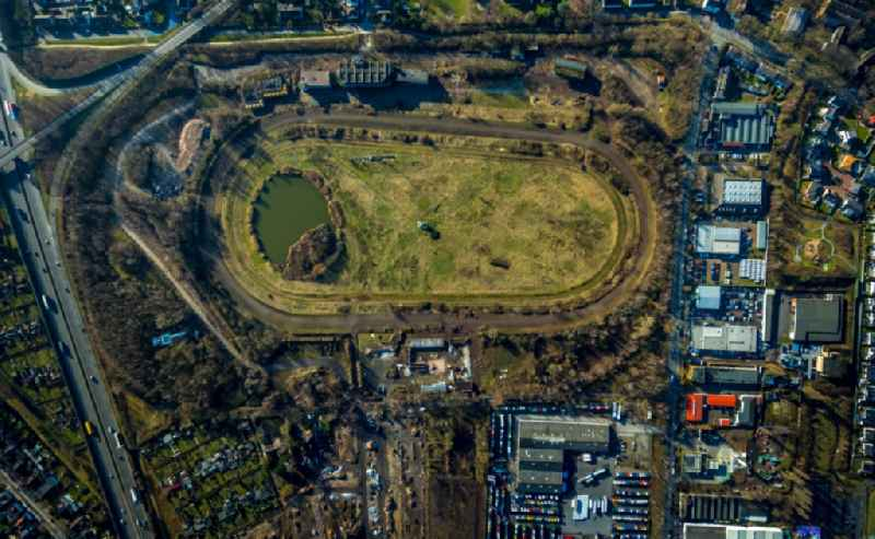 Vertical aerial view from the satellite perspective of the development, demolition and renovation work on the site of the former racetrack - Trabrennbahn in Recklinghausen in the state North Rhine-Westphalia, Germany