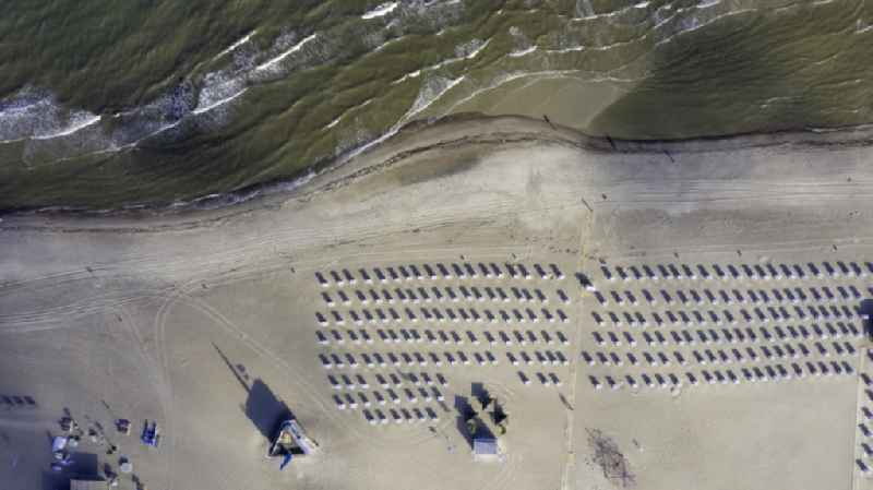 Vertical aerial view from the satellite perspective of the beach chair on the sandy beach ranks in the coastal area of Baltic Sea in the district Warnemuende in Rostock in the state Mecklenburg - Western Pomerania, Germany