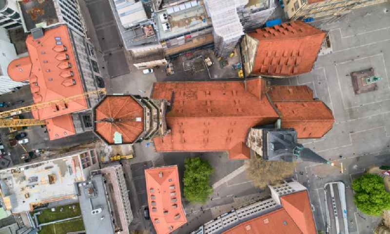 Vertical aerial view from the satellite perspective of the church building Evangelische Stiftskirche in Stuttgart in the state Baden-Wurttemberg, Germany